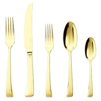 Sambonet Imagine Flatware 5 Piece Place Setting, Gold (Solid knife)