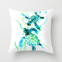 Sea Turtles, Turquoise blue Design Throw Pillow by sureart