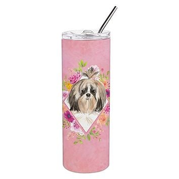 Shih Tzu Pink Flowers Double Walled Stainless Steel 20 oz Skinny Tumbler CK4212TBL20
