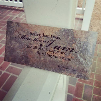Custom Thin Brick Plaque - All of this happened by taking your hand - Wedding Date Personalized Gift Art Anniversary Song Lyric love quote