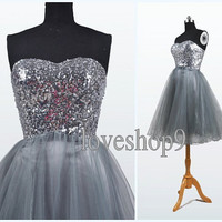 2014   Knee Length A-line Gray Tulle Satin PRom Dress Ball Gown Bubble Gown Homecoming dress/gown  Evening Bridesmaid  Prom  Wedding Dresses