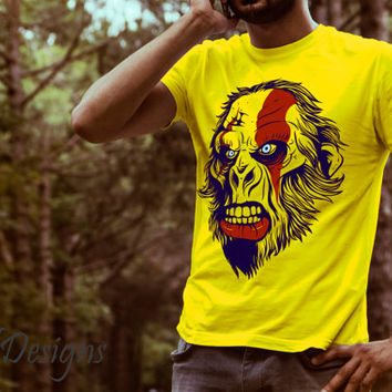 Special Hand Drawn Angry Gorilla Monkey With Tattoo Design Cotton DTG Print T Shirt - Graphic Tee - Unique Gift For Men
