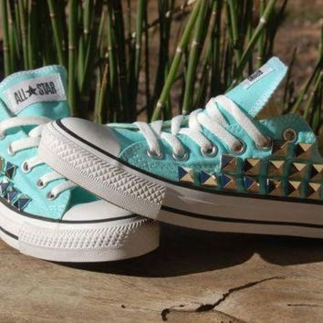 DCCKHD9 Studded Converse - Tiffany Blue Converse Low Top Mint/Aqua/Sky Blue