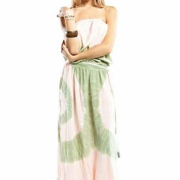 Gypsy 05 Lulu Tube Maxi Dress in Coral / Moss
