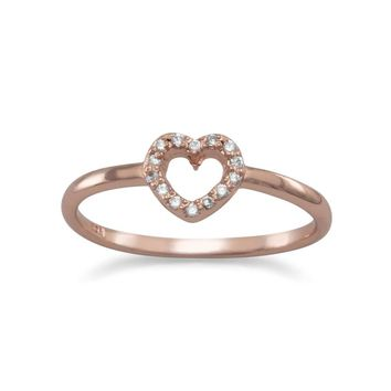 14 Karat Rose Gold Plated CZ Heart Ring