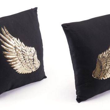 Metallic Wings Set Of 2 Pillows Black & Gold
