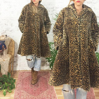Vintage Faux LEOPARD Fur Swing Coat || Vegan Animal Friendly || Size Medium