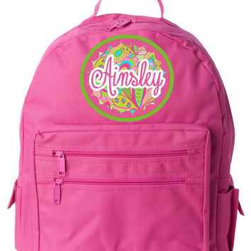 Paisley w/Name on Pink Backpack