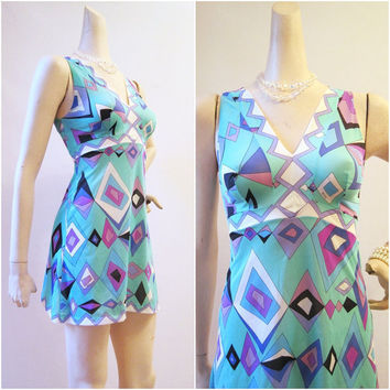 Emilio Pucci 60s 70s MIni Slip Dress Nightgown by voguevintage