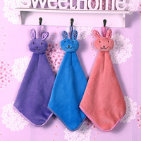 Lovely Cartoon Rabbit Coral velvet Towel Dry Hands Cloth Dishcloth Kitchen Bathroom Towel Hanging