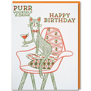 Paper Parasol Press - Purr Yourself a Drink Birthday Card