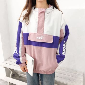 """PUMA""Women Fashion Girl Letter Pattern Print Loose Draw String Long Sleeve Hooded Windbreaker Coat Hoodie Tops"