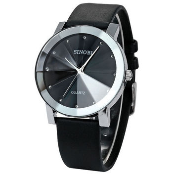 Trendy Classic diamond-shaped Face Crystal dress women men Quartz Watches with Leather Strap for unisex = 1956419204