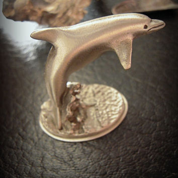 SALE! Pewter dolphin collectible statuette, unisex, home & office decor, nautical theme, ocean mammal, shower gift, dolphins football team.