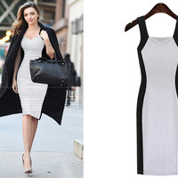 Color Block Knit Pencil Dress