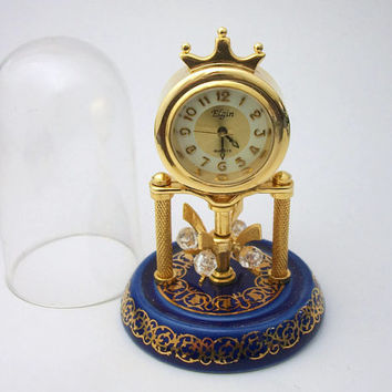 Miniature Elgin Quartz Dome Clock - Tiny Collectible Mini Working Clock - Plastic Dome - Gold Tone and Cobalt Royal Blue