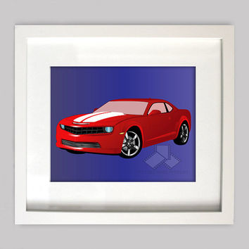 2013 Red Chevrolet Camaro 8x10 Illustration for Boys Room Decor, Nursery Wall Art, Boys Room Art, or Toddler Boys Room(Digtial Download)