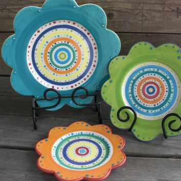Bright Dots and Stripes Curvy Flower Plate by InAGlaze on Etsy