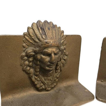 Vintage cast iron indian chief bookends - Native American Indian, head dress, door stop, bookshelf display, pair book end