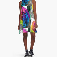 A Line dress with rainbow rose print Cool dress for summer Beautiful dress Active dress Party dress