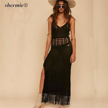 Cover ups Bikini Sexy Deep V Neck Long Crochet Beach Cover Up High Splited Hollow Out Halter Bikini Cover Up With Tassel Swimwear Women  KO_13_1