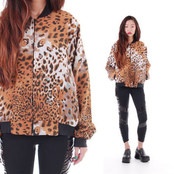 Leopard Print Windbreaker 80s 90s Silky Bomber Jacket Hipster Hip Hop Swag Clothing Winter Outerwear Clothing Womens Size Small
