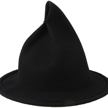 Women's Wool Felt Candy Colored Sharp Pointed Witch Hat