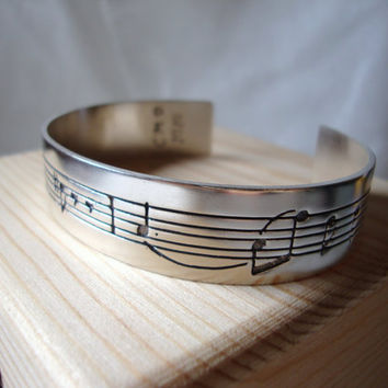 """Personalized bracelet --Sterling silver bracelet handmade and engraved with a small part of the """"Mozart Requiem"""" - Made to order -"""