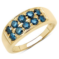 0.85 Carat Genuine Blue Diamond 10K Yellow Gold Ring