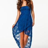Sapphire Strapless High Low Lace Dress