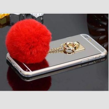 Fur Ball Chain Mirror Protective Case For iPhone 6 6sPlus Red
