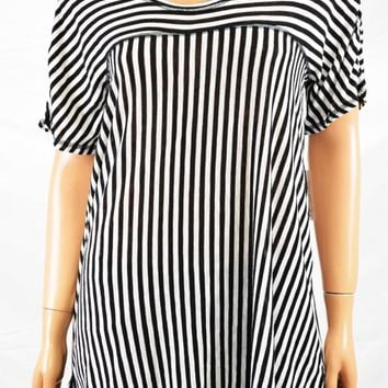 NY Collection Women Short Sleeve Black Striped Tunic Hi-Low Blouse Top L
