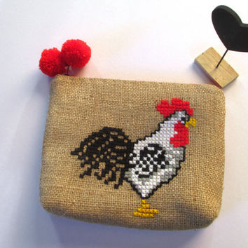 Rooster burlap pouch bag, cross stitch embroidery ,accessories pouch, handmade pouch, travel accessory