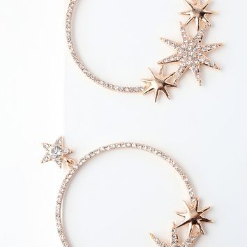 Glow Up Rose Gold Star Rhinestone Hoop Earrings
