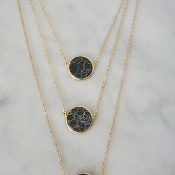 Three Layer Black Circle Marble Necklace
