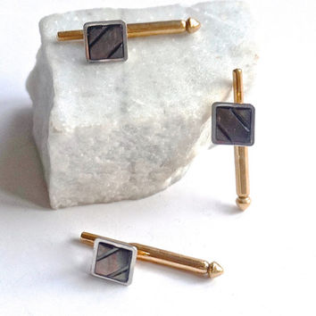 Vintage Tuxedo Studs,SWANK Shirt Studs, Abalone Tuxedo Buttons,Mother of Pearl Shirt Studs,Formal Jewelry for Black Tie Event,Valentine Gift