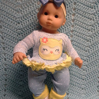 "AMERICAN GIRL Bitty Baby Clothes ""Lemon the Owl"" (15 inch) doll outfit  dress, leggings, booties socks, headband flowers N2"