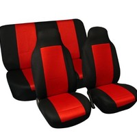 FH-FB102112 Classic Cloth Car Seat Covers Red / Black color