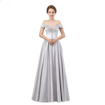 Silver Satin Evening Dress Long 3D Appliques Beading Evening Party Dress Sexy Sweetheart Off Shoulder Prom Dress