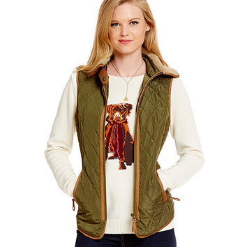 Cremieux Kennedy Quilted Vest with Faux-Fur Collar | Dillards