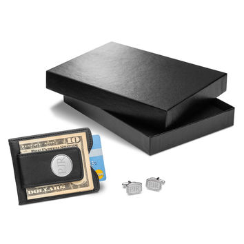 Personalized Black Leather Wallet & Beaded Rectangular Cufflinks Gift Set