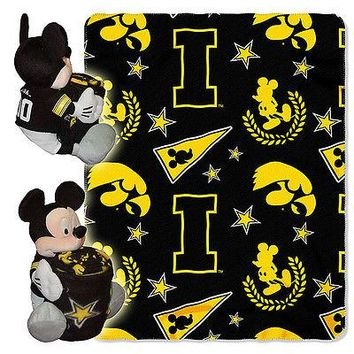 "IOWA HAWKEYES 40""X50"" DISNEY MICKEY MOUSE HUGGER PILLOW & THROW BLANKET SET NEW"