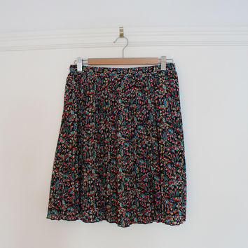 Anthropologie Floral Print Pleated Skirt