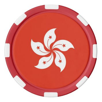 Poker chips with Flag of Hong Kong
