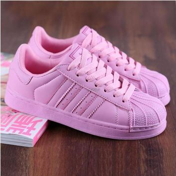 """""""Adidas"""" Fashion Shell-toe Flats Sneakers Sport Shoes Pure color cute pink"""