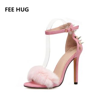 FEE HUG Sexy Fashion Women Sandals Ankle Strap Woman's Faux Fur Sandals 2018 Summer Peep Toe Rivet High Heels Shoes Wedding Shoe