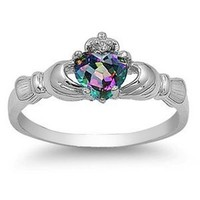 Sterling Silver FIRE Simulated Rainbow Topaz Mystic HEART Royal Claddagh Irish Ring 4-12 & Half sizes