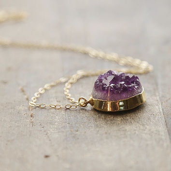Amethyst Cluster Pendant, Statement Raw Stone Necklace, Amethyst Crystal Necklace, Gold Purple Necklace, Boho Necklace, February Birthstone