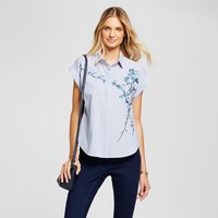 Women's Floral Embroidered Shirt - A New Day™ Light Blue