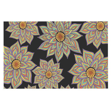 "Pom Graphic Design ""Floral Dance in the Dark"" Decorative Door Mat"